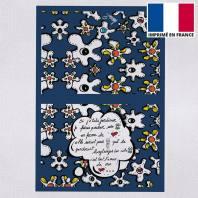 Kit pochette canvas motif fleur poème bleu - Création Anne-Sophie Dozoul