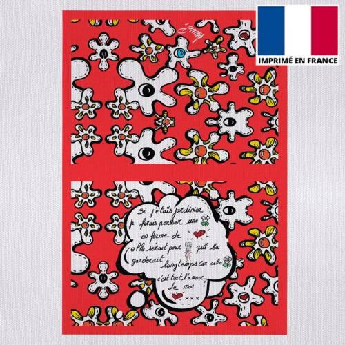 Kit pochette motif fleur poème rouge - Création Anne-Sophie Dozoul