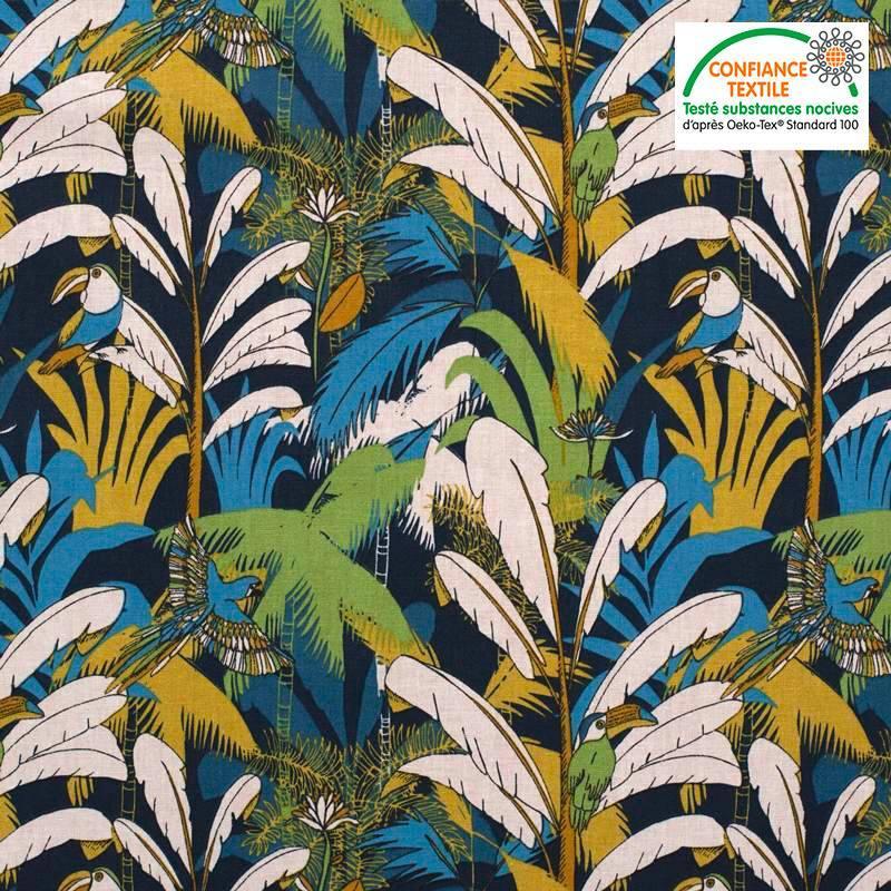 Coton bleu marine motif toucan et ara bleu canard