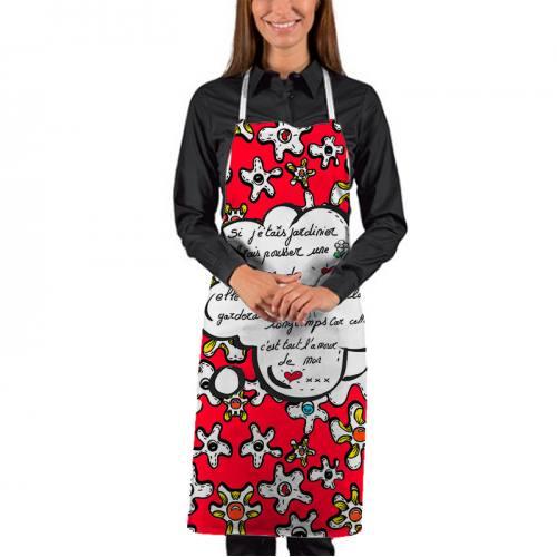 Kit canvas pour tablier motif fleur poème rouge - Création Anne-Sophie Dozoul