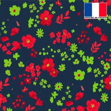 Tissu microfibre bleu nuit motif fleurs des champs rouges vertes