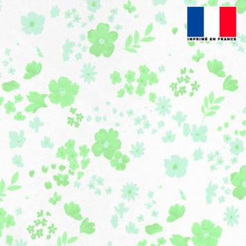 Tissu microfibre écru motif fleurs des champs vertes bleues