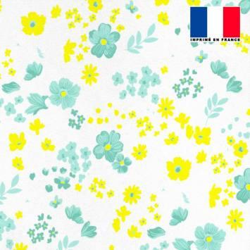 Tissu microfibre écru motif fleurs des champs jaunes vert d'eau