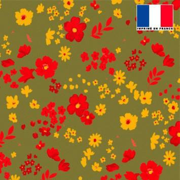 Tissu microfibre kaki motif fleurs des champs rouges ocre