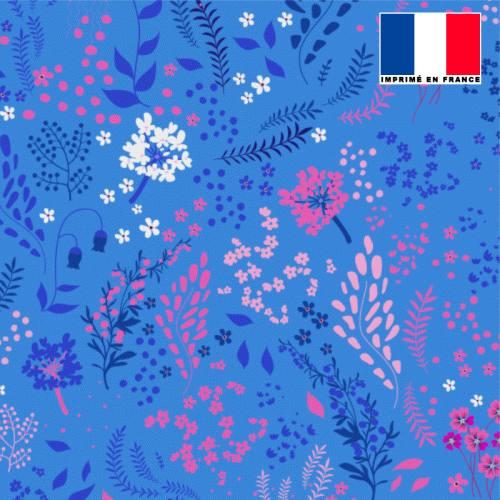 Tissu microfibre bleu clair motif fleurs champêtres roses bleues blanches