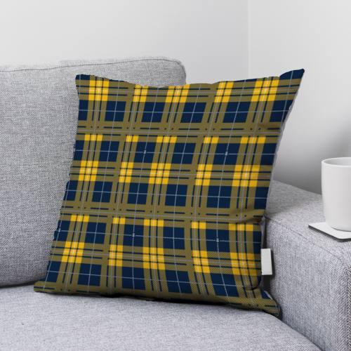 Velours d'habillement motif tartan bleu et jaune et petite abeille