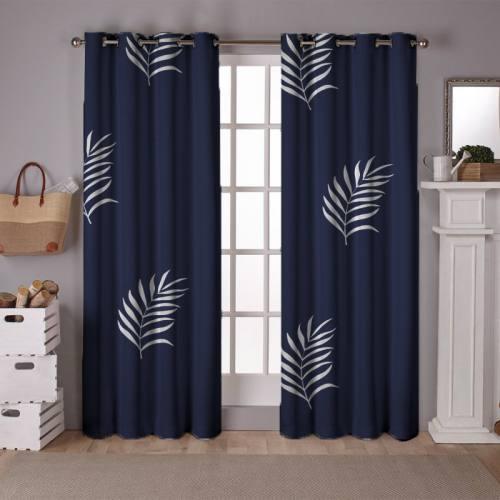 Tissu occultant écru motif feuille de palmier bleu turquin