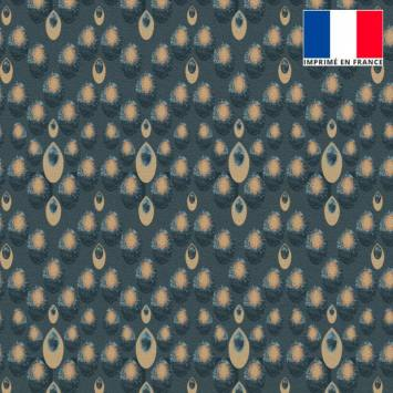 Velours ras bleu turquin imprimé gouttes beiges