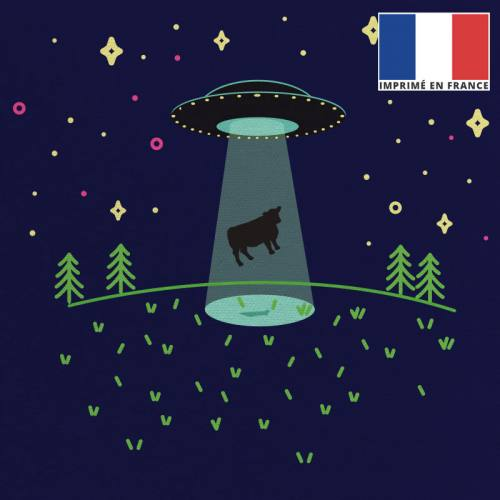 Coupon 45x45 cm motif bleu foncé motif alien et vache