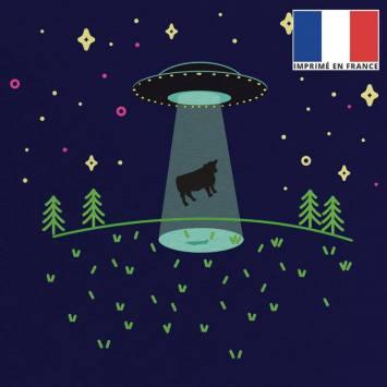 Coupon 45x45 cm toile canvas bleu foncé motif alien et vache