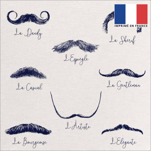 Coupon 45x45 cm toile canvas écrue motif moustaches bleues