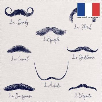 Coupon 45x45 cm toile canvas écrue motif moustaches bleues