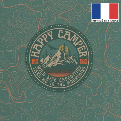 Coupon 45x45 cm toile canvas vert sauge motif mountain life