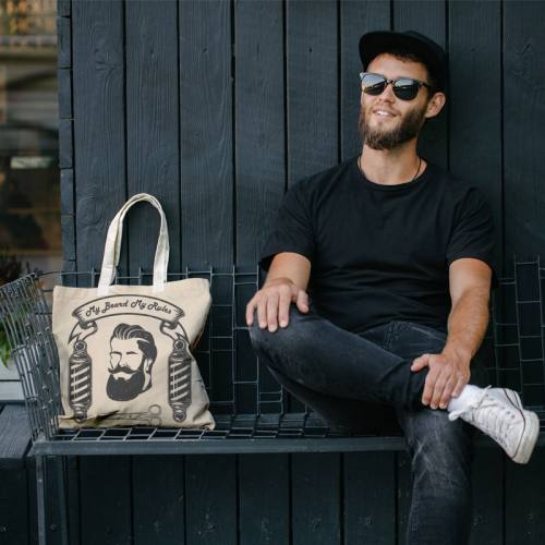 Coupon 45x45 cm toile canvas beige motif My beard my rules