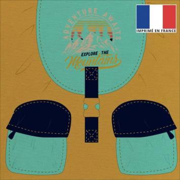 Coupon 45x45 cm toile canvas motif sac à dos ocre turquoise et bleu