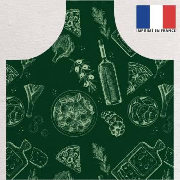 Kit canvas pour tablier vert motif italian food