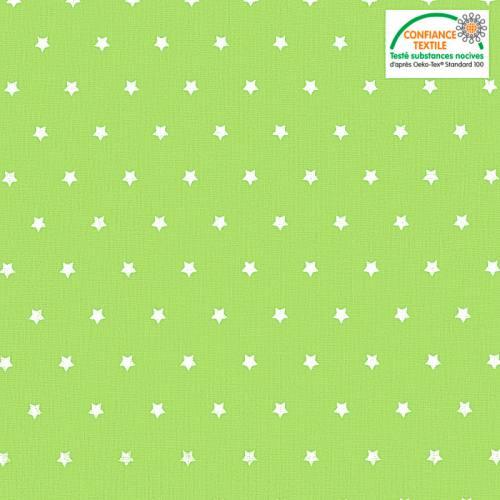 Coton cretonne vert anis étoiles blanches