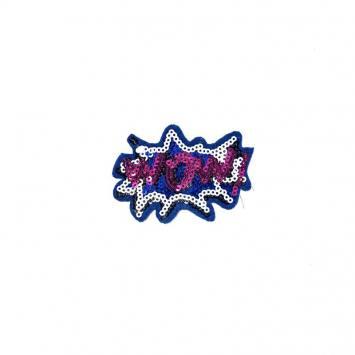 """Écusson à sequins bleu électrique motif """"Wow"""" rose"""