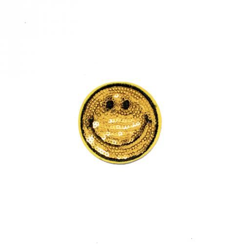 Écusson à sequins smiley jaune