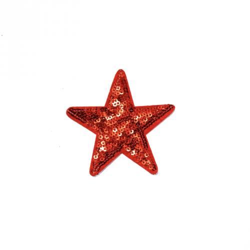 Écusson à sequins étoile rouge