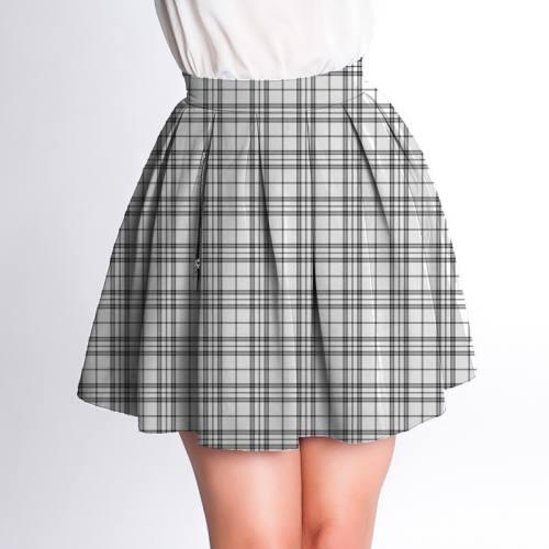 Velours d'habillement motif tartan gris et blanc