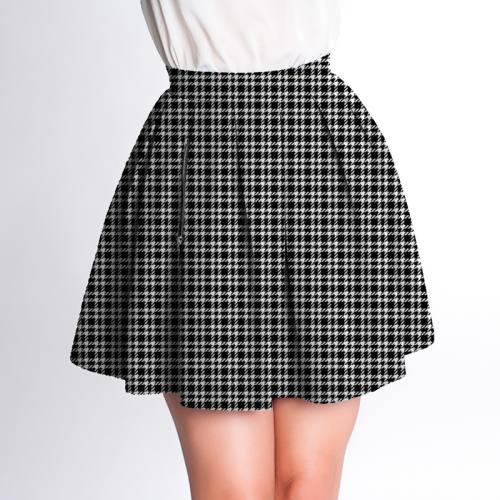 Velours d'habillement motif pied de poule noir et blanc