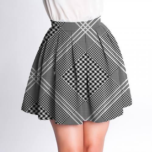 Velours d'habillement motif pied poule effet prince de galles noir et blanc