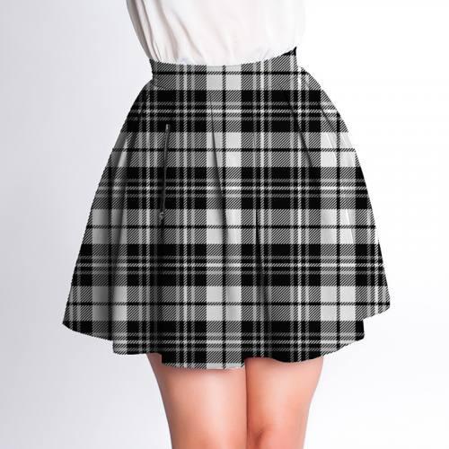 Velours d'habillement motif tartan noir et blanc