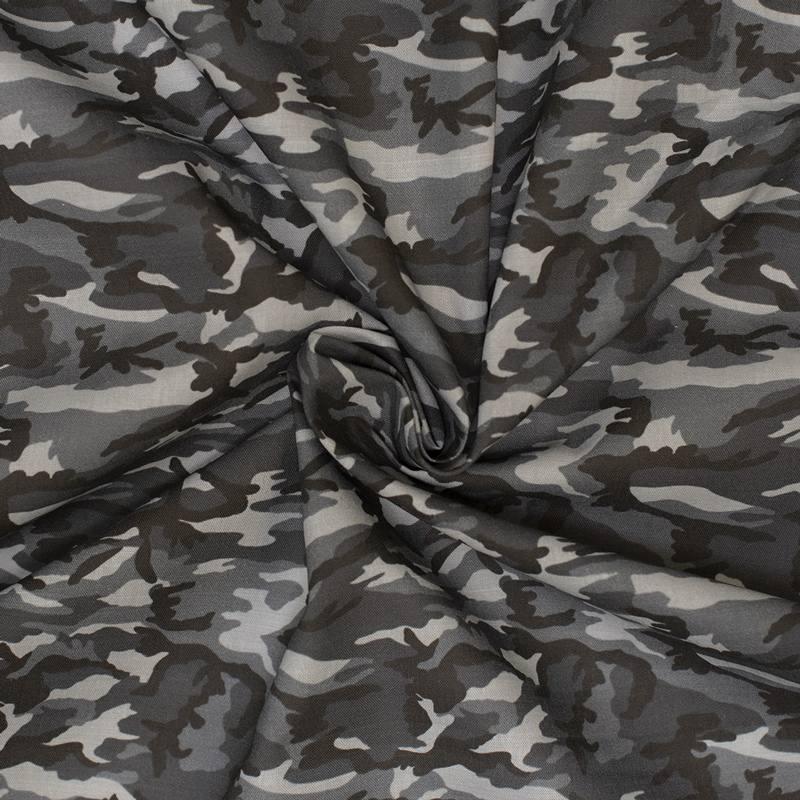 Coton gris imprimé camouflage