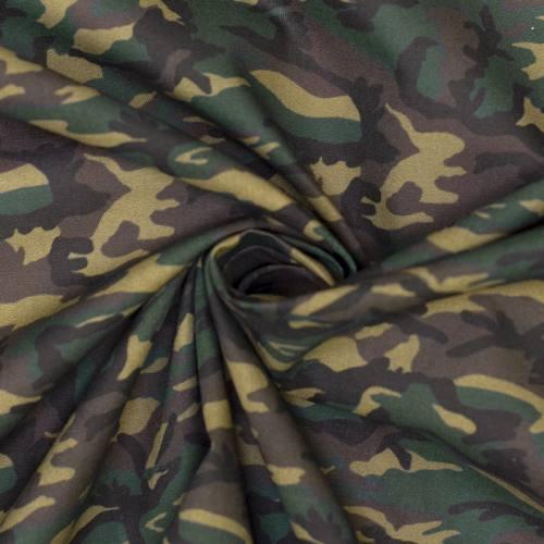 Coton vert imprimé camouflage marron