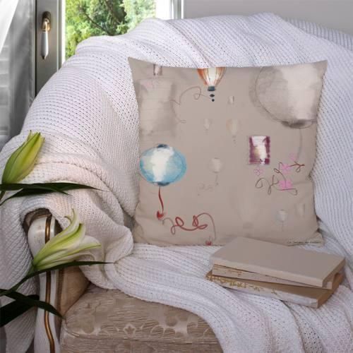 Coupon velours ras gris imprimé lanternes colorées - Création Marie-Eva