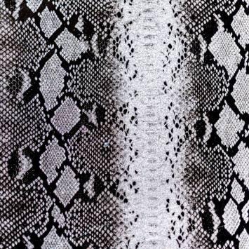 Simili cuir argent à paillettes motif peau de serpent noire