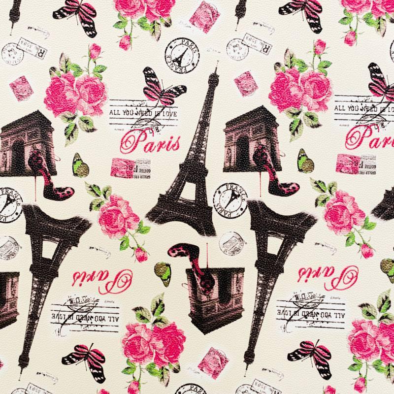 Coupon 50x68 - Simili cuir blanc cassé imprimé Paris rose et noir