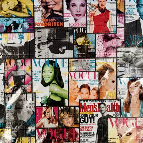 Coupon 50x68 cm - Simili cuir noir imprimé magazine de mode