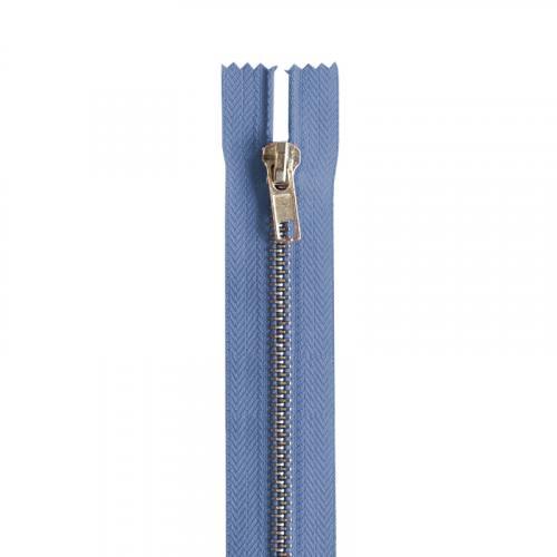 Fermeture bleu jean en métal argent 16 cm col 145