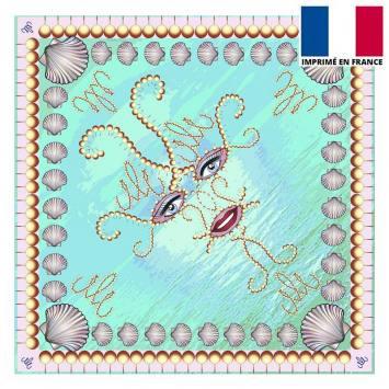 Coupon velours ras bleu imprimé shéhérazade - Création Mathilde Lordet