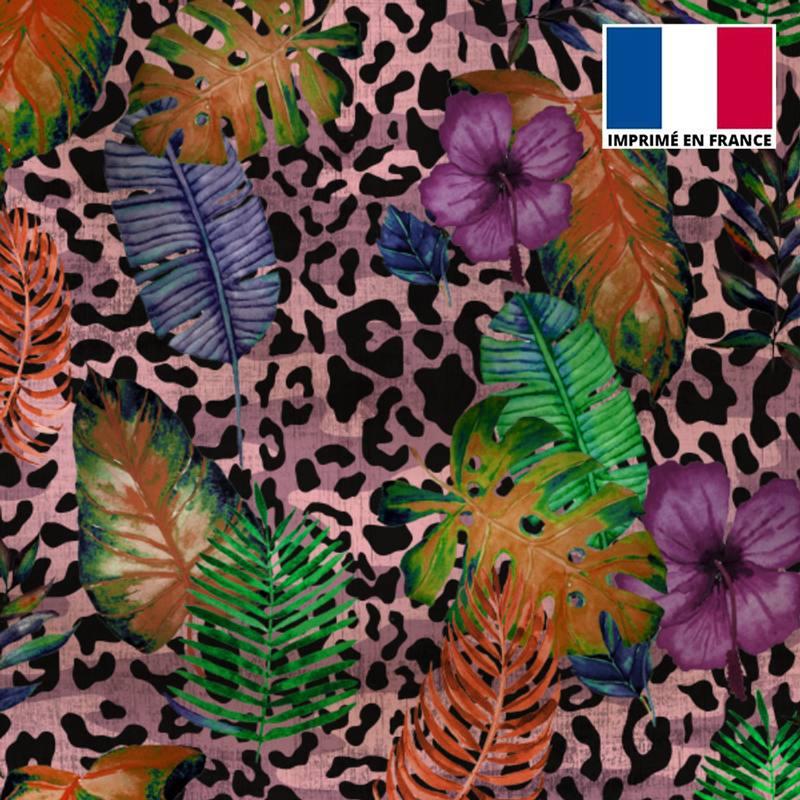 Maille scuba rose imprimé jungle léopard
