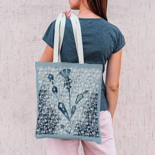 Coupon toile canvas gris rosé motif mosaïque - Création Marie-Eva