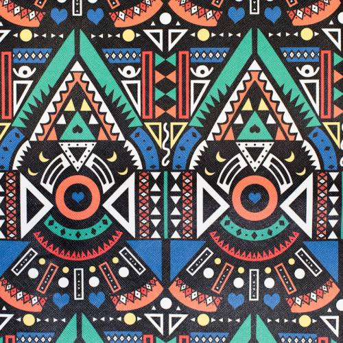 Simili cuir noir imprimé ethnique multicolore