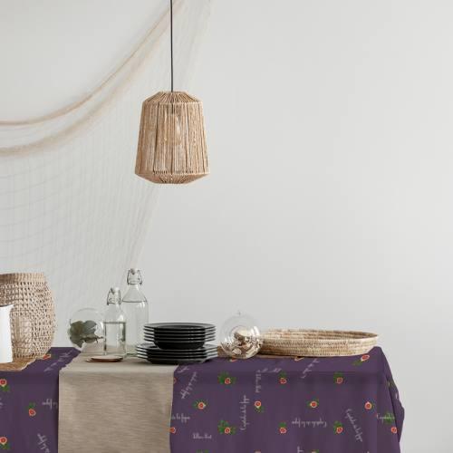Tissu burlington violet imprimé figue de Solliès-Pont