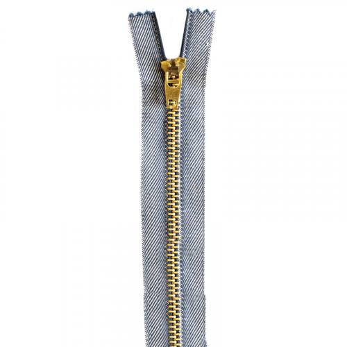 Fermeture jean bleu en métal doré 16 cm col 998