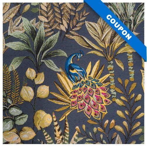 Coupon 50x68 cm - Jacquard bleu argenté motif feuilles beiges et vertes