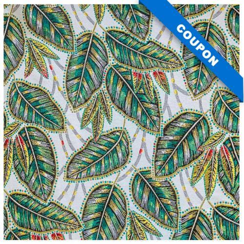 Coupon 50x68 cm - Tissu jacquard blanc motif eldorado vert