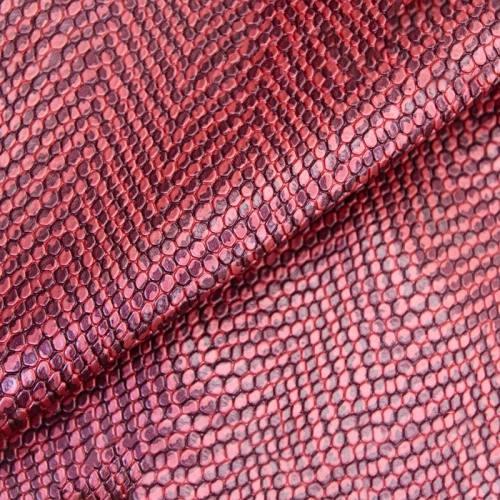 Simili cuir bicolore à relief écailles rose et bordeaux