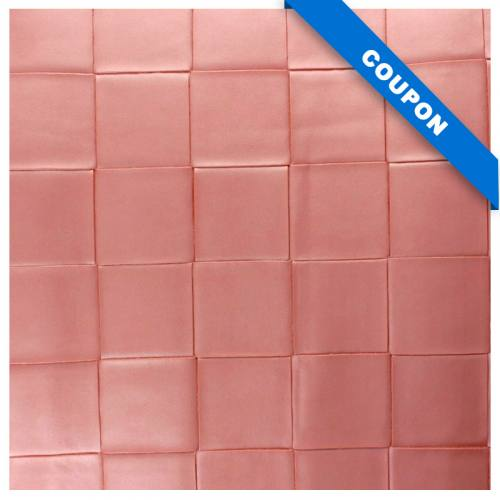 Coupon 50x68 cm - Simili nacré couleur rose à carreaux en relief