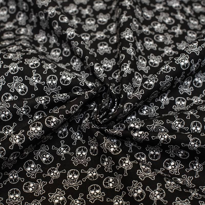 Coton noir imprimé tête de mort blanche