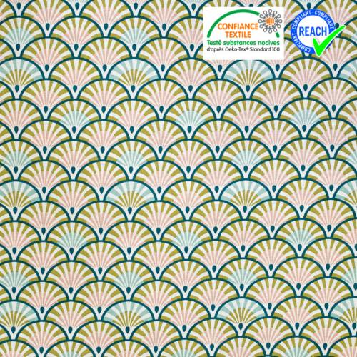 Coton blanc motif éventail vert paon et rose yona