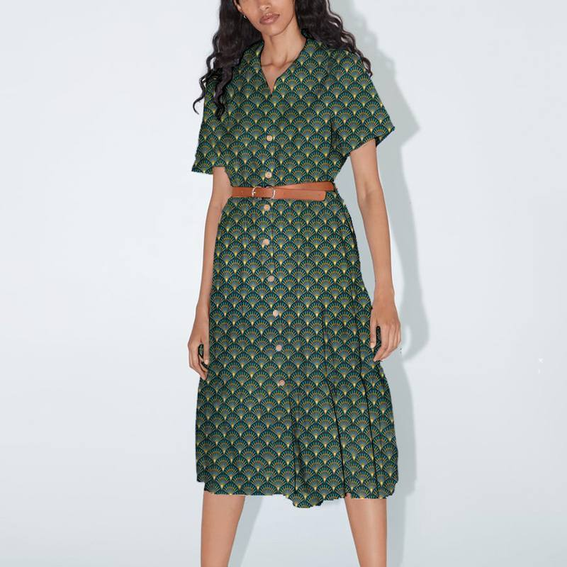 Coton bleu nuit motif éventail vert