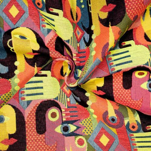 Coupon 50x68 cm - Jacquard motif géométrique et couleur fluo