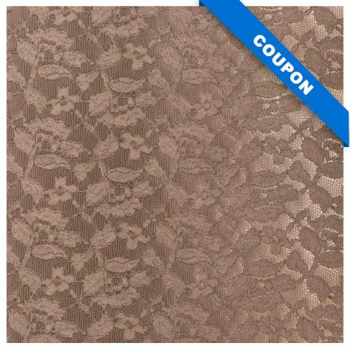 Coupon 50x68cm - Simili cuir marron glacé relief fleur dentelle